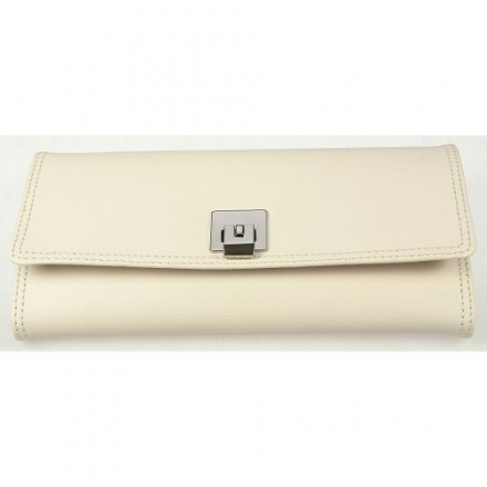 Cream double stitched leather jewellery roll with cream lining