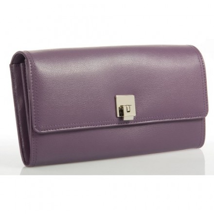 Lilac double stitched leather travel wallet