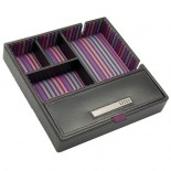 Black leather valet tray with purple striped lining